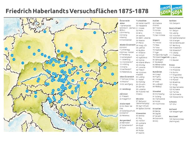 """Die Karte trägt die Überschrift """"Friedrich Haberlandts Versuchsflächen 1875-1878"""" und zeigt links eine Landkarte von Zentraleuropa mit eingezeichneten heutigen Ländergrenzen. Die Legende auf der rechten Seite listet die Versuchsorte in Österreich, Tschechien, Italien, Serbien, Ungarn, Deutschland, Rumänien, Polen, der Ukraine, Slowenien, der Slowakei, Kroatien, der Schweiz, Holland und Russland auf, die in der Karte jeweils mit blauen Punkten ausgewiesen sind."""