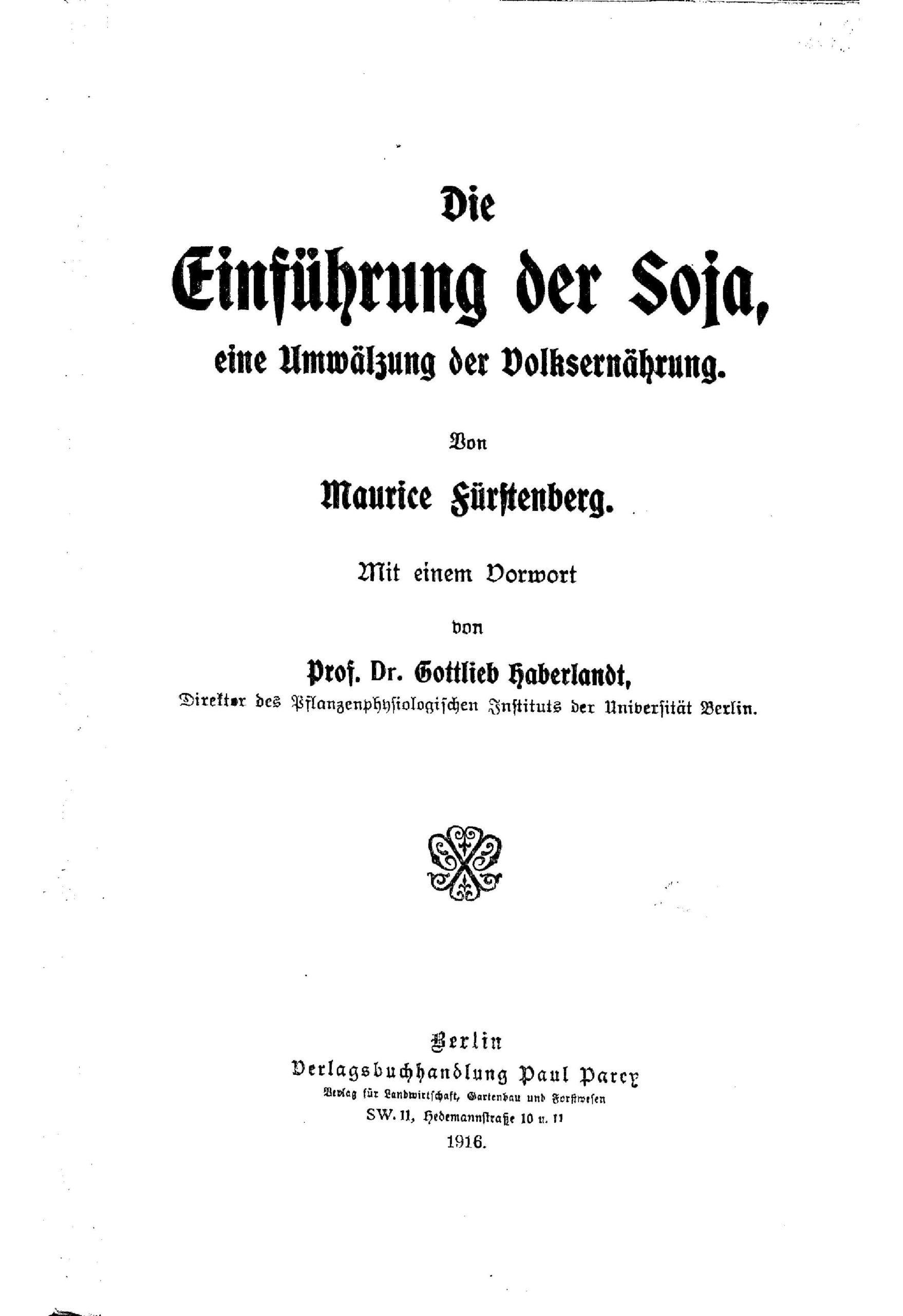 """Scan des Titelblatts von """"Die Einführung der Soja, eine Umwälzung der Ernährung"""" mit Angabe des Titels, der Verfasser und des Verlags."""