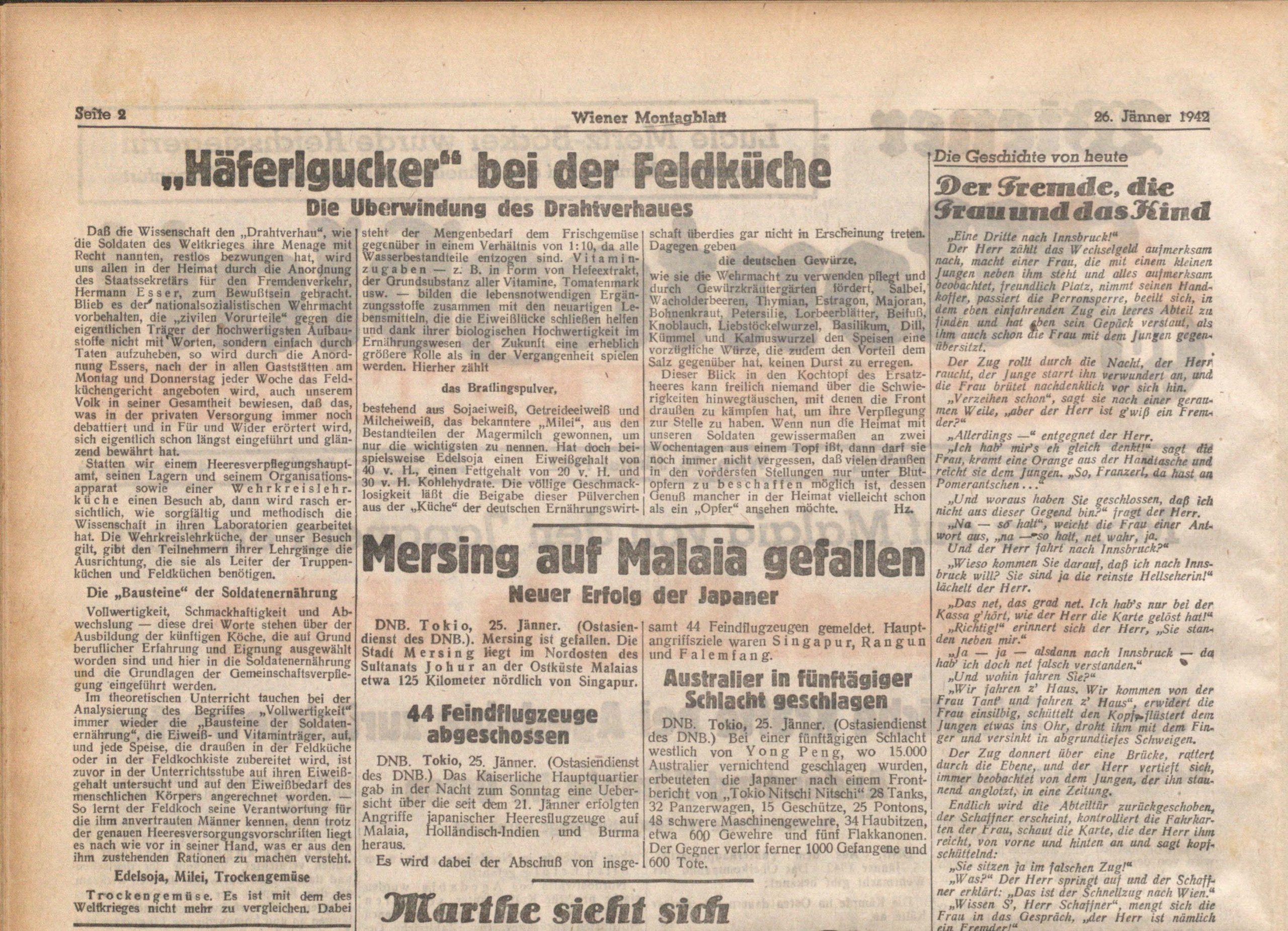 Scan eines historischen Zeitungsausschnitts.
