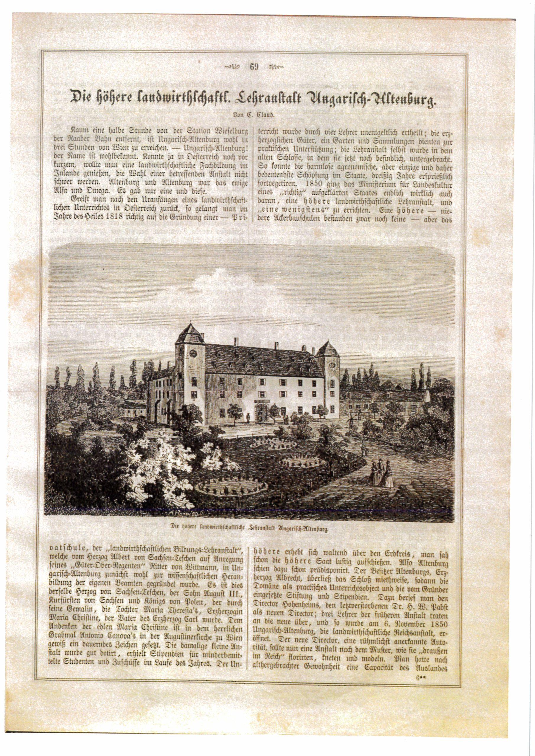 Scan einer Textseite, in der Mitte ist die Zeichnung eines in einer Landschaft situierten Gebäudes abgebildet.