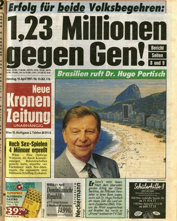 """Die Abbildung zeigt einen Scan der Titelseite der Neuen Kronen Zeitung von 1997. Ganz oben ist in großen Buchstaben getitelt: """"Erfolg für beide Volksbegehren: 1,23 Millionen gegen Gen!"""" Darunter sind verschiedene Schlagzeilen und Annoncen abgedruckt."""