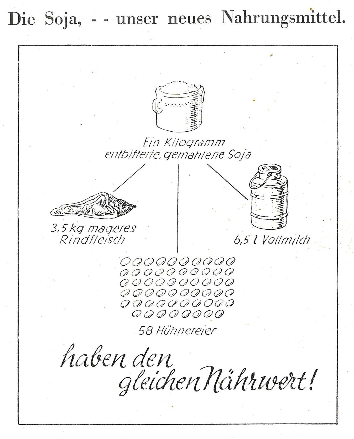 Die Abbildung zeigt eine gezeichnete Grafik. Sie stellt dar, dass ein Kilogramm entbitterte gemahlene Soja den gleichen Nährwert hat wie 3,5 Kilogramm mageres Rindfleisch, 58 Eier oder 6,5 Liter Vollmilch.
