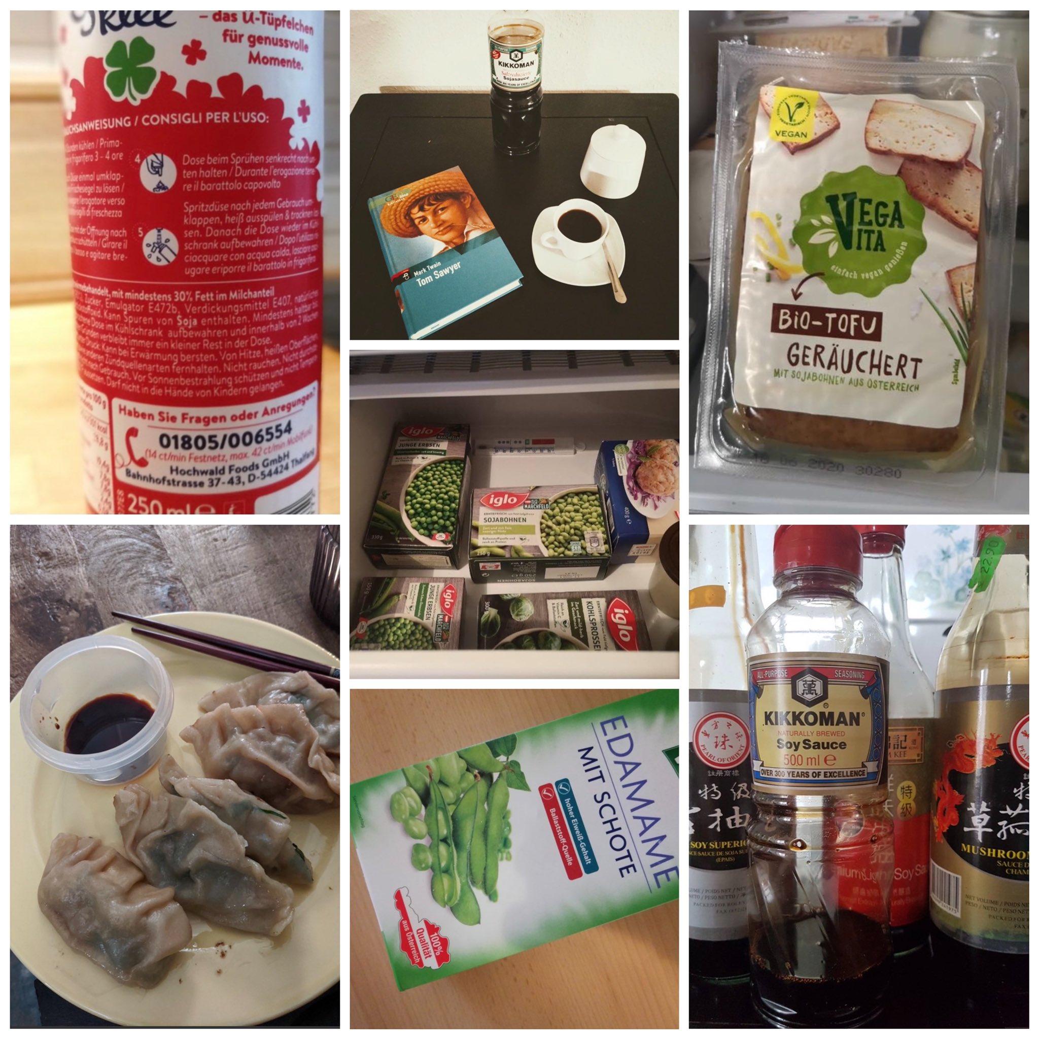 """Eine Collage aus mehreren Fotos, die Verwendungs- und Konsumformen von Soja zeigen: Sojatofu, Sojasoße in Flaschen und angerichtet auf einem Teller, ein Edamame-Label, Sojamilch, der Verweis auf Verpackungen """"Kann Spuren von Soja enthalten""""."""