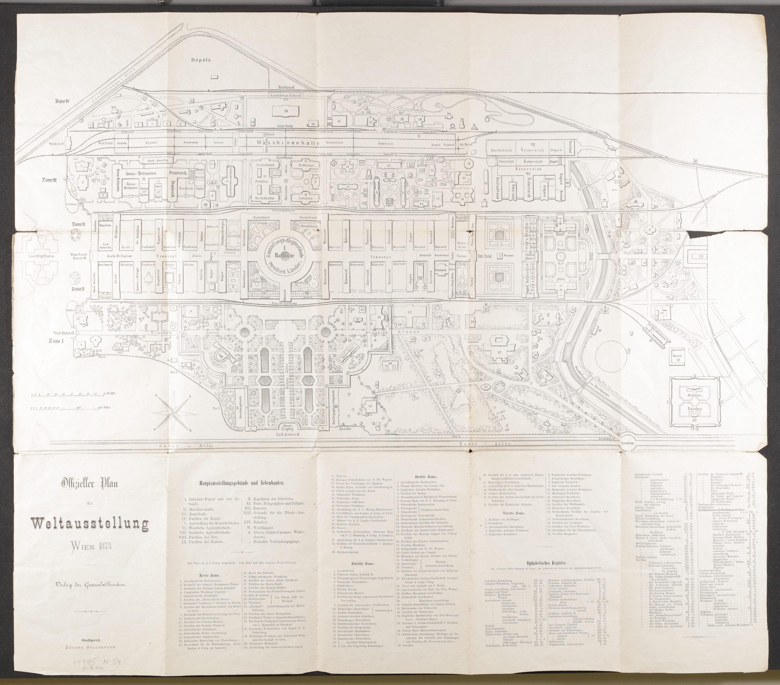 Scan des Lageplans zur Wiener Weltausstellung 1873. Der obige Teil umfasst eine Skizee der Wege und Pavillons, der untere Teil die Auflistung der Ausstellungsbereiche.