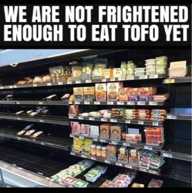 """Das Meme zeigt ein vollbestücktes Regal mit Tofuprodukten neben leergekauften anderen Regalflächen in einem Supermarkt. Es ist überschrieben mit: """"We are not frightened enough to eat tofo yet""""."""